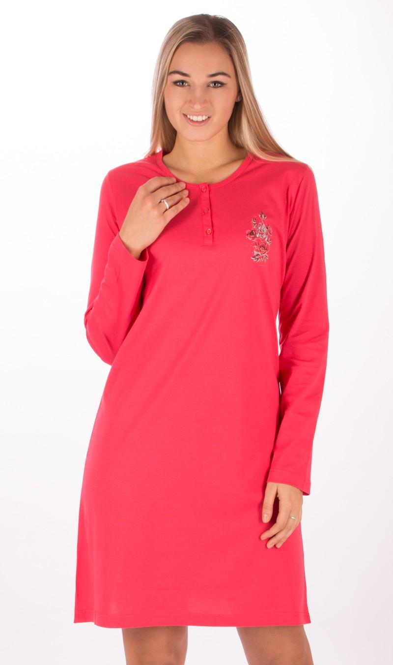 Dámská noční košile s dlouhým rukávem Julie Vel  L Barva jahodová