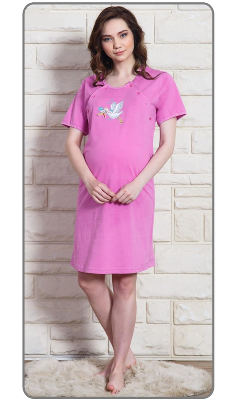 Dámská noční košile mateřská Čáp s čepicí Vel  L Barva fialová