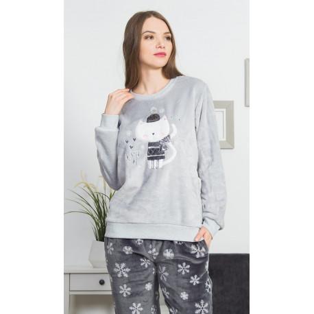 Dámské pyžamo dlouhé Kočka se šálou
