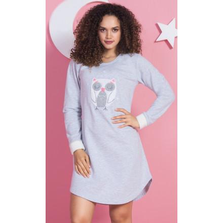 Dámská noční košile s dlouhým rukávem Velká sova