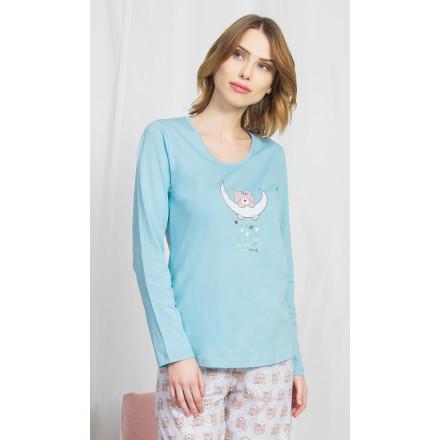 Dámské pyžamo dlouhé Méďa na měsíci