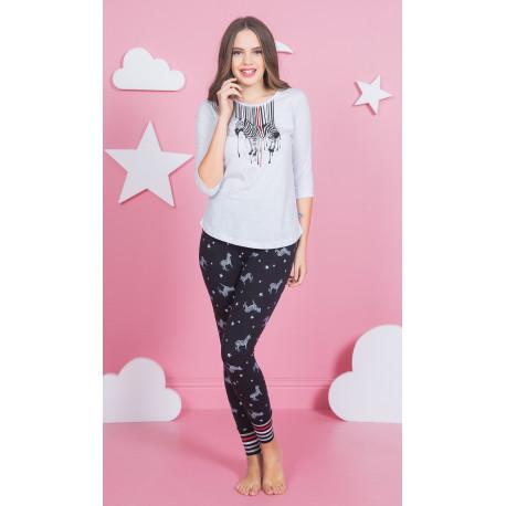 Dámské pyžamo dlouhé Zebra