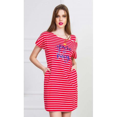 Dámské domácí šaty s krátkým rukávem Red sun