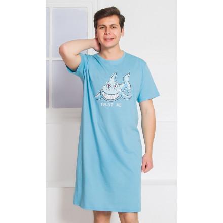 Pánská noční košile s krátkým rukávem Žralok
