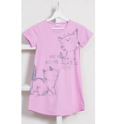 Dětská noční košile s krátkým rukávem Kočky
