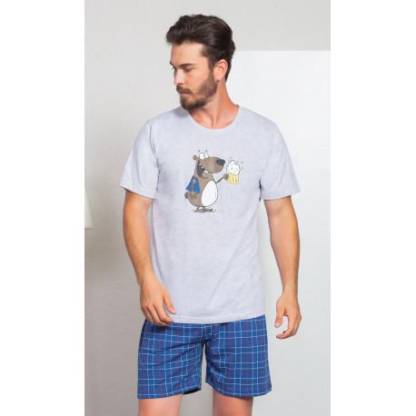 Pánské pyžamo šortky Méďa s pivem