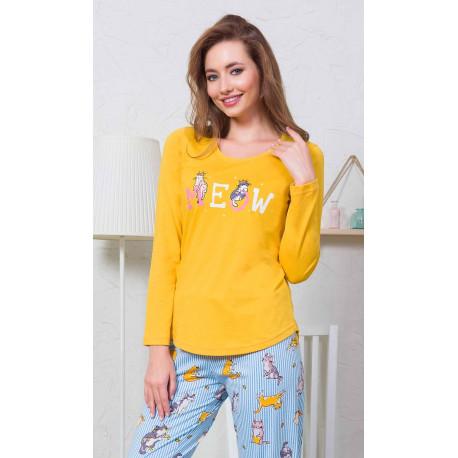 Dámské pyžamo dlouhé Kočka Meow