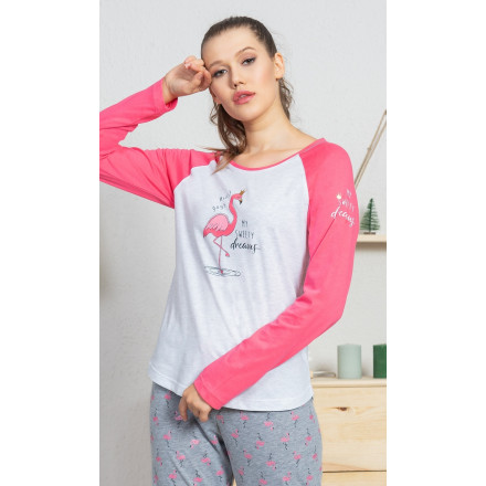 Dámské pyžamo dlouhé Plameňák