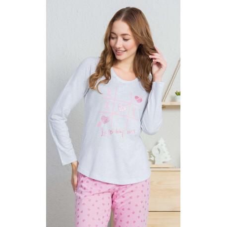 Dámské pyžamo dlouhé Srdíčka