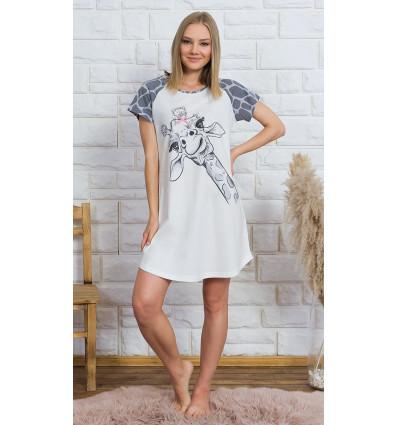 Dámská noční košile s krátkým rukávem Velká žirafa