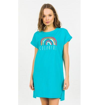 Dámská noční košile s krátkým rukávem Colorful