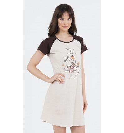 Dámská noční košile s krátkým rukávem Méďa