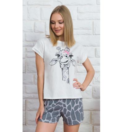 Dámské pyžamo šortky Velká žirafa