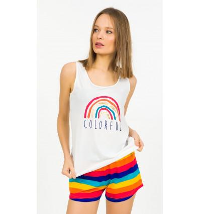 Dámské pyžamo šortky na ramínka Colorful