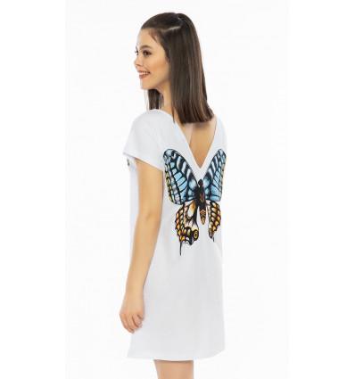 Dámská noční košile s krátkým rukávem Velký motýl