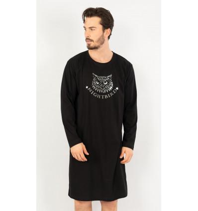 Pánská noční košile s dlouhým rukávem Sova