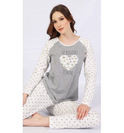 Dámská pyžamo dlouhé Srdce z kopretin